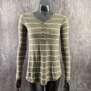 BDG Urban Outfitters Olive Striped V Neck Top XS